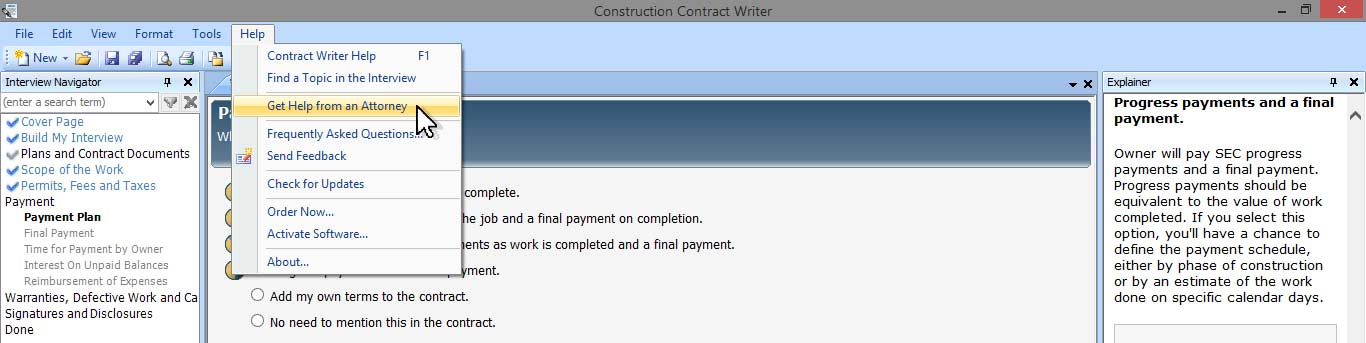 Screenshot Get Help From Attorney Writing Construction Contracts